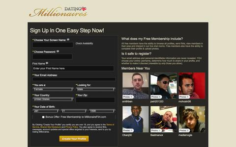 Screenshot of Signup Page datingmillionaires.co.uk - Sign up in one easy step, Dating Millionaires - captured March 17, 2016