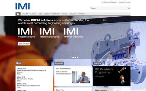 Screenshot of Home Page imiplc.com - IMI plc - captured Nov. 3, 2015