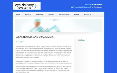 Screenshot of Terms Page eyedeliverysystems.com - Legal - captured Sept. 30, 2014