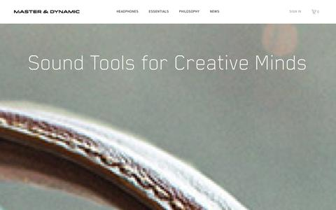 Screenshot of Home Page masterdynamic.com - Master and Dynamic | Sound Tools For Creative Minds - captured Sept. 23, 2014