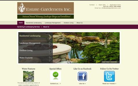 Screenshot of Home Page omahagreen.com - Estate Gardeners Inc. Landscape Design and Installation Omaha Nebraska Landscaping - captured Oct. 3, 2014