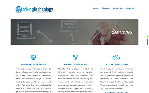 Screenshot of Services Page working-technology.com - Services - captured June 14, 2017