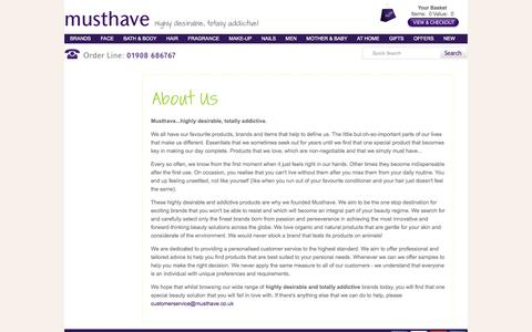 Screenshot of About Page musthave.co.uk - Musthave.co.uk | A Little More Information About Us - captured Oct. 26, 2014