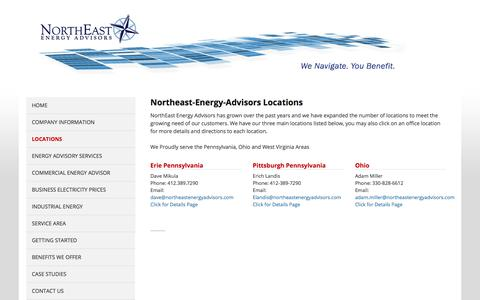Screenshot of Locations Page northeastenergyadvisors.com - Our Locations of Service Northeastern Energy Advisors - captured Sept. 20, 2018