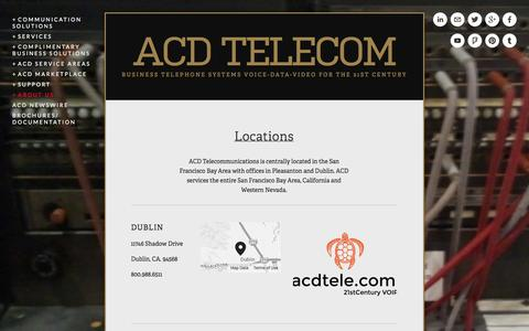 Screenshot of Locations Page acdtele.com - Locations — ACD Telecom - captured Oct. 1, 2014