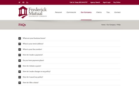 Screenshot of FAQ Page frederickmutual.com - FAQs – Frederick Mutual Insurance Company - captured Nov. 25, 2016