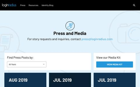 Screenshot of Press Page loginradius.com - Media/Press Section | LoginRadius Media/Press Section - captured Sept. 25, 2019