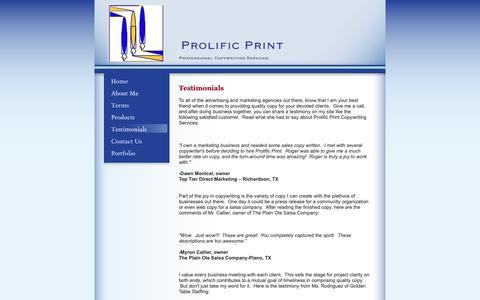 Screenshot of Testimonials Page rogerrussell.org - Prolific Print  - Testimonials - captured Oct. 1, 2018