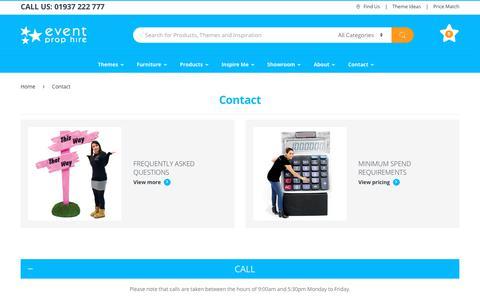 Screenshot of Contact Page eventprophire.com - Contact Us | Event Prop Hire - captured Nov. 5, 2018