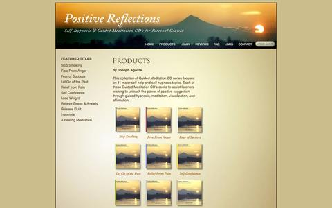 Screenshot of Products Page positive-reflections.com - Positive Reflections  | Products  |  Self-Help through Guided Meditation and Self-Hypnosis - captured June 15, 2016