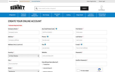 Screenshot of Signup Page summitappliance.com - Dealer Registration | Summit Appliance - captured Sept. 22, 2018