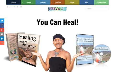 Screenshot of Home Page seekwithinyou.com - Law of Attraction Healing - captured Nov. 6, 2018