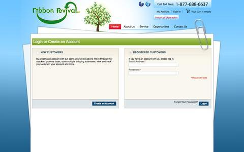 Screenshot of Login Page ribbonrevival.com - Customer Login - captured Oct. 6, 2014