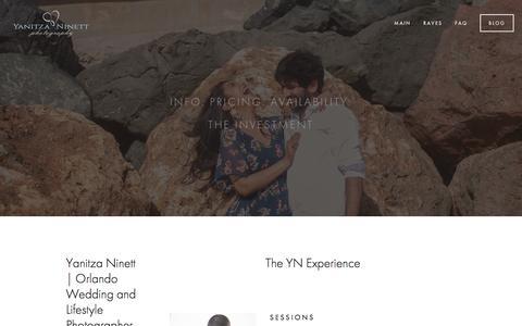Screenshot of Pricing Page yanitzaninett.com - Pricing — Yanitza Ninett Photography - captured Nov. 19, 2016