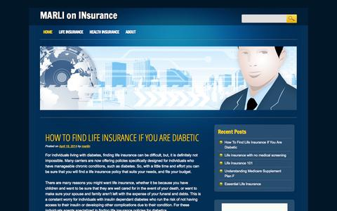 Screenshot of Home Page marliin.com - MARLI on INsurance - captured Oct. 6, 2014
