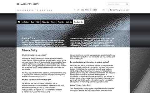 Screenshot of Privacy Page eleathergroup.com - Privacy Policy - captured July 3, 2016