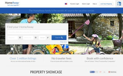Screenshot of Home Page homeaway.com - HomeAway: Vacation Rentals, Beach Houses, Cabins & More - captured July 11, 2014