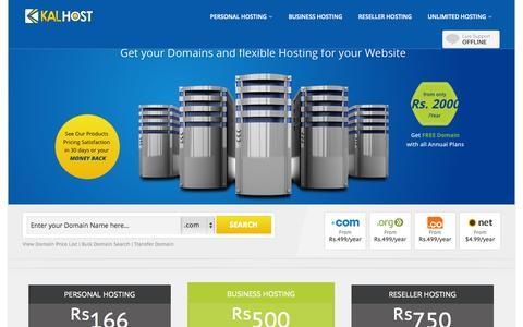 Screenshot of Home Page kalhost.com - Domain Registration Pakistan – Domain Search | Domain Name Registration | Web Hosting - captured Sept. 30, 2014