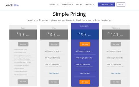 Screenshot of Pricing Page leadlake.com - LeadLake | Pricing | Online Lead Finder for Business Leads - captured Sept. 21, 2018