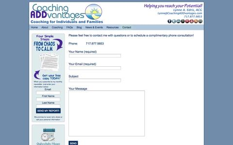 Screenshot of Contact Page coachingaddvantages.com - Contact - captured Sept. 30, 2014
