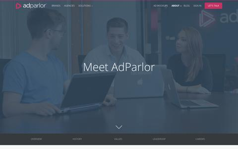 Screenshot of About Page adparlor.com - AdParlor. Facebook, Twitter, Instagram and YouTube Advertising. Social media marketing. - captured May 31, 2017