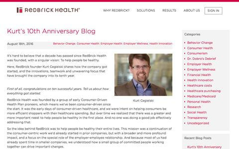 RedBrick Health – Kurt's 10th Anniversary Blog
