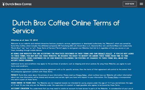 Screenshot of Terms Page dutchbros.com - Dutch Bros | Dutch Bros. Terms of Service - captured Oct. 5, 2018