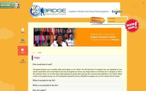 Screenshot of FAQ Page interculturalecuador.com - FAQ's - captured Oct. 5, 2014
