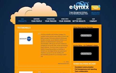 Screenshot of Testimonials Page elynxx.com - Testimonials | eLynxx Solutions - captured Oct. 31, 2014