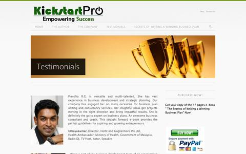 Screenshot of Testimonials Page kickstartpro.com - Testimonials - captured Sept. 30, 2014