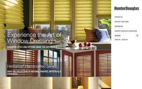 Screenshot of Home Page hunterdouglas.com - Hunter Douglas Window Treatments - captured Sept. 19, 2014
