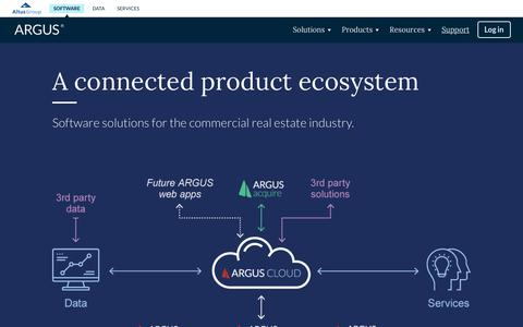 Screenshot of Products Page altusgroup.com - A connected product ecosystem - ARGUS | Software solutions for commercial real estate - captured Jan. 26, 2019