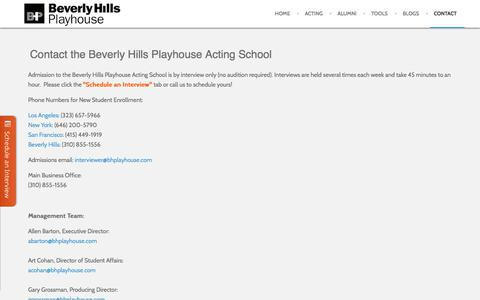 Screenshot of Contact Page bhplayhouse.com - Contact Us - Beverly Hills Playhouse Acting School - captured Oct. 5, 2014