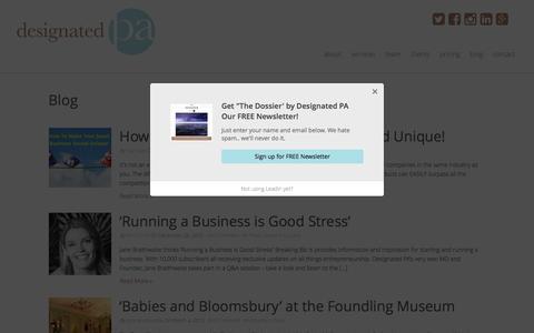 Screenshot of Press Page designatedpa.com - Press Archives - Designated PA - Virtual Personal Assistant Service London - captured Aug. 1, 2016