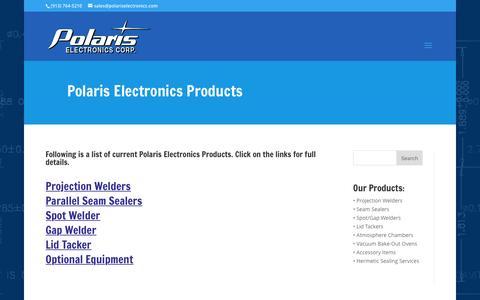Screenshot of Products Page polariselectronics.com - Products | Polaris Electronics - captured Nov. 8, 2016