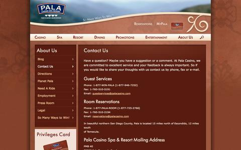 Screenshot of Contact Page palacasino.com - Contact Us | Pala Casino - captured Sept. 25, 2014