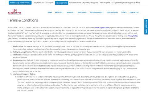 Screenshot of Terms Page sapxtra.com - sapxtra.com - captured Sept. 29, 2017