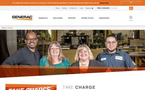 Screenshot of Jobs Page generac.com - Generac Power Systems - Find Jobs at Any Of Generac's Locations - captured Sept. 10, 2018