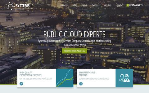 Screenshot of Home Page systemsup.co.uk - SystemsUp - Cloud Facilitators - captured Feb. 23, 2016