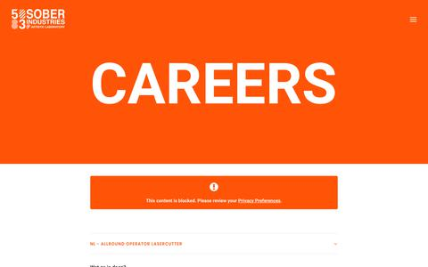 Screenshot of Jobs Page sober-industries.com - Sober Industries   Careers   Job Opportunities   Job Apply - captured July 14, 2018