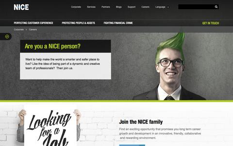 Screenshot of Jobs Page nice.com - Are you a NICE person | NICE Systems - captured Jan. 22, 2016