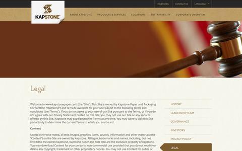 Screenshot of Terms Page kapstonepaper.com - Legal | KapStone Paper and Packaging | KapStone - captured Oct. 27, 2014