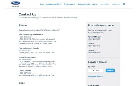 Screenshot of Contact Page ford.com - Contact Us | Ford Motor Company Customer Service | Ford.com - captured Sept. 18, 2014