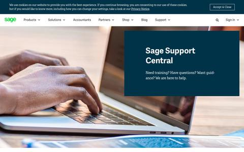 Screenshot of Support Page sage.com - Contact Technical Support | Sage Africa - captured July 17, 2019