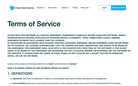 Screenshot of Terms Page interviewmocha.com - Interview Mocha Terms of Services - captured April 19, 2019