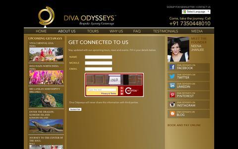 Screenshot of Signup Page divaodysseys.com - GET CONNECTED TO US | Diva Odysseys - Sign Up for News - captured Jan. 7, 2016