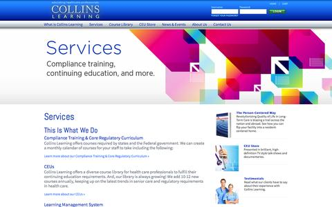 Screenshot of Services Page collinslearning.com - Collins Learning - Educate. Inspire. Transform. - captured Dec. 10, 2015