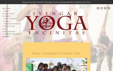 Screenshot of Blog iyengaryogaencinitas.com - Center Blog — Iyengar Yoga Encinitas - captured Oct. 26, 2017