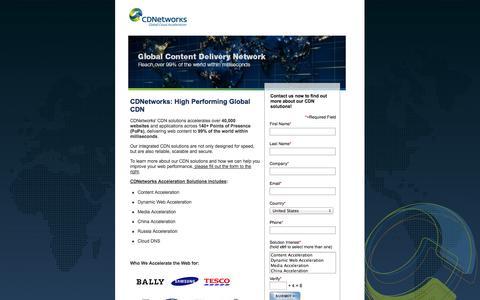 Screenshot of Landing Page cdnetworks.com - CDNetworks: High Performing Global CDN   CDNetworks - captured Oct. 27, 2014