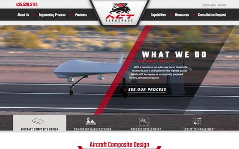 Screenshot of Home Page actaero.com - ACT Aerospace Advanced Aerospace Composite Structures - captured Aug. 5, 2015